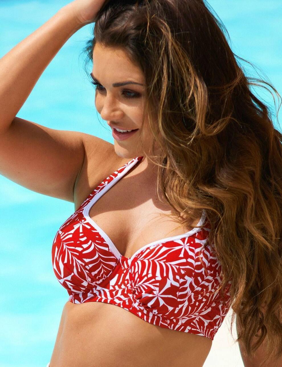 37002 Pour Moi Fiesta Halter Underwired Bikini Top - 37002 Red/White