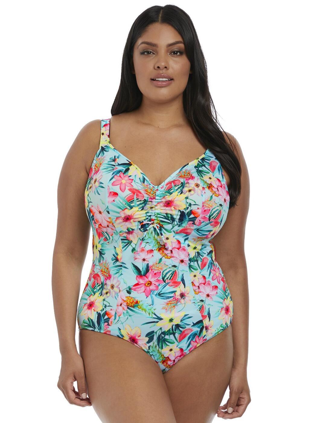 7150 Elomi Aloha Moulded Adjustable Neckline Swimsuit - 7150 Aqua