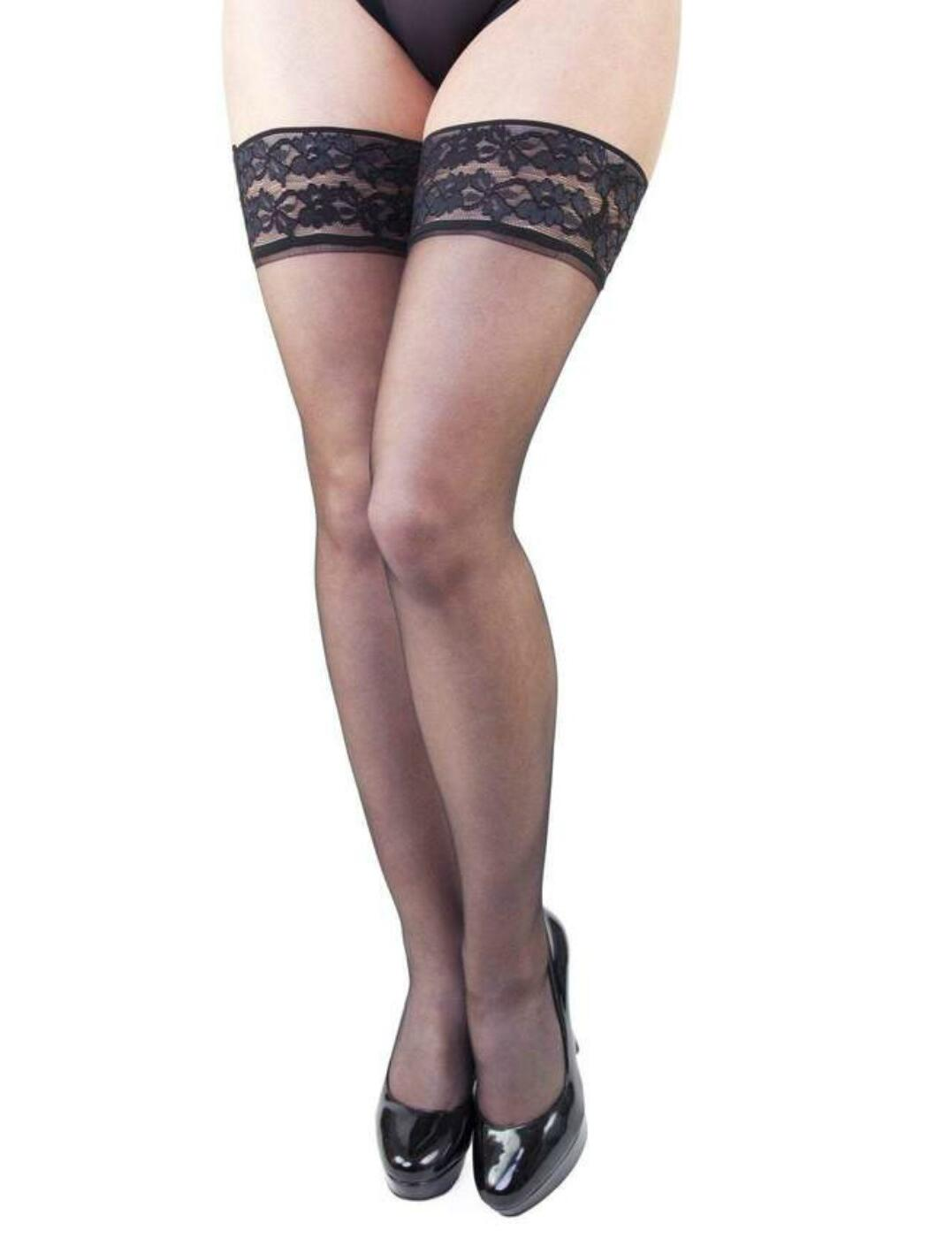 Playful Promises Black Lace Frill Top Hold Ups  - Black
