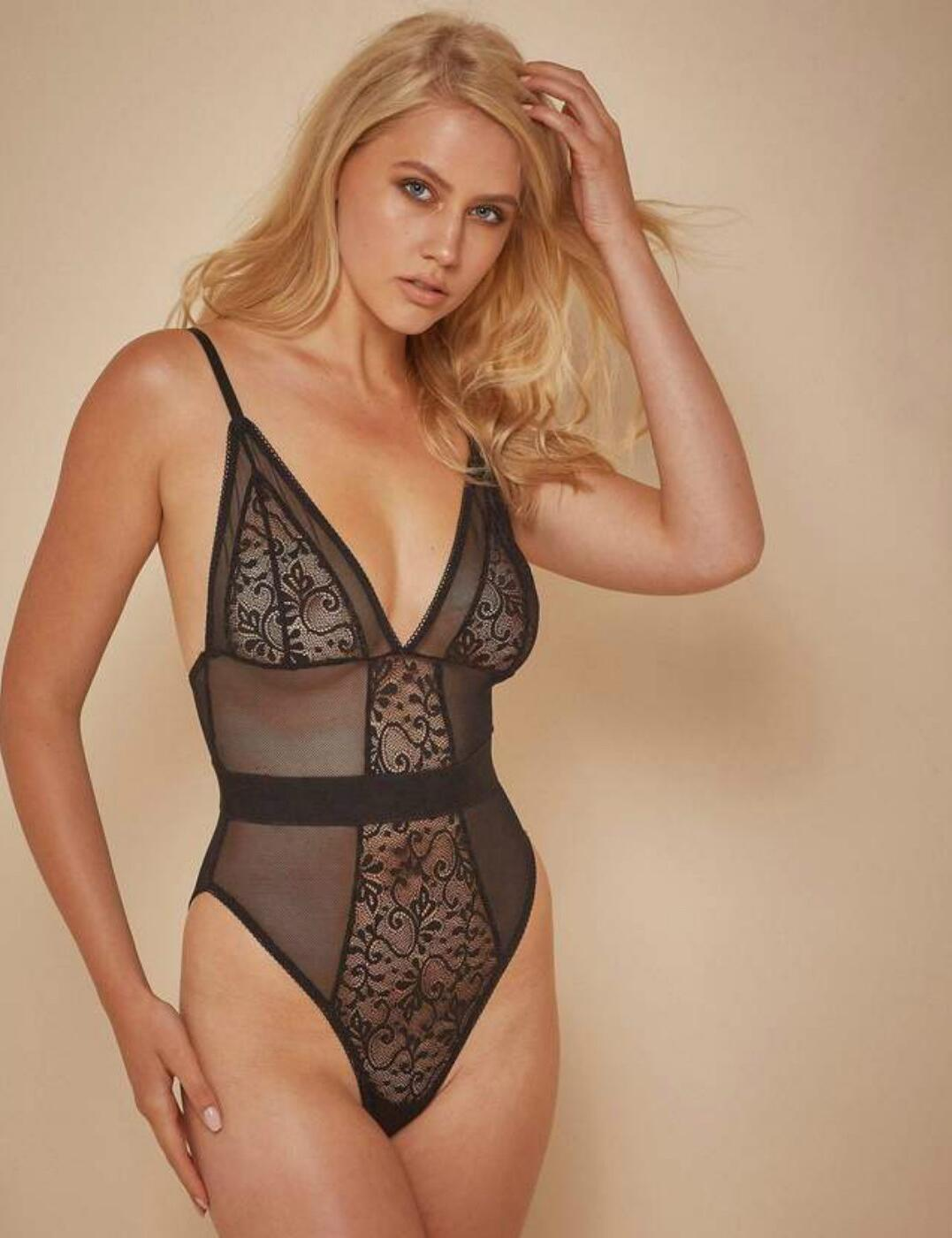 WWL465 Playful Promises Wolf & Whistle Lia Fishnet And Lace Body - WWL465 Black