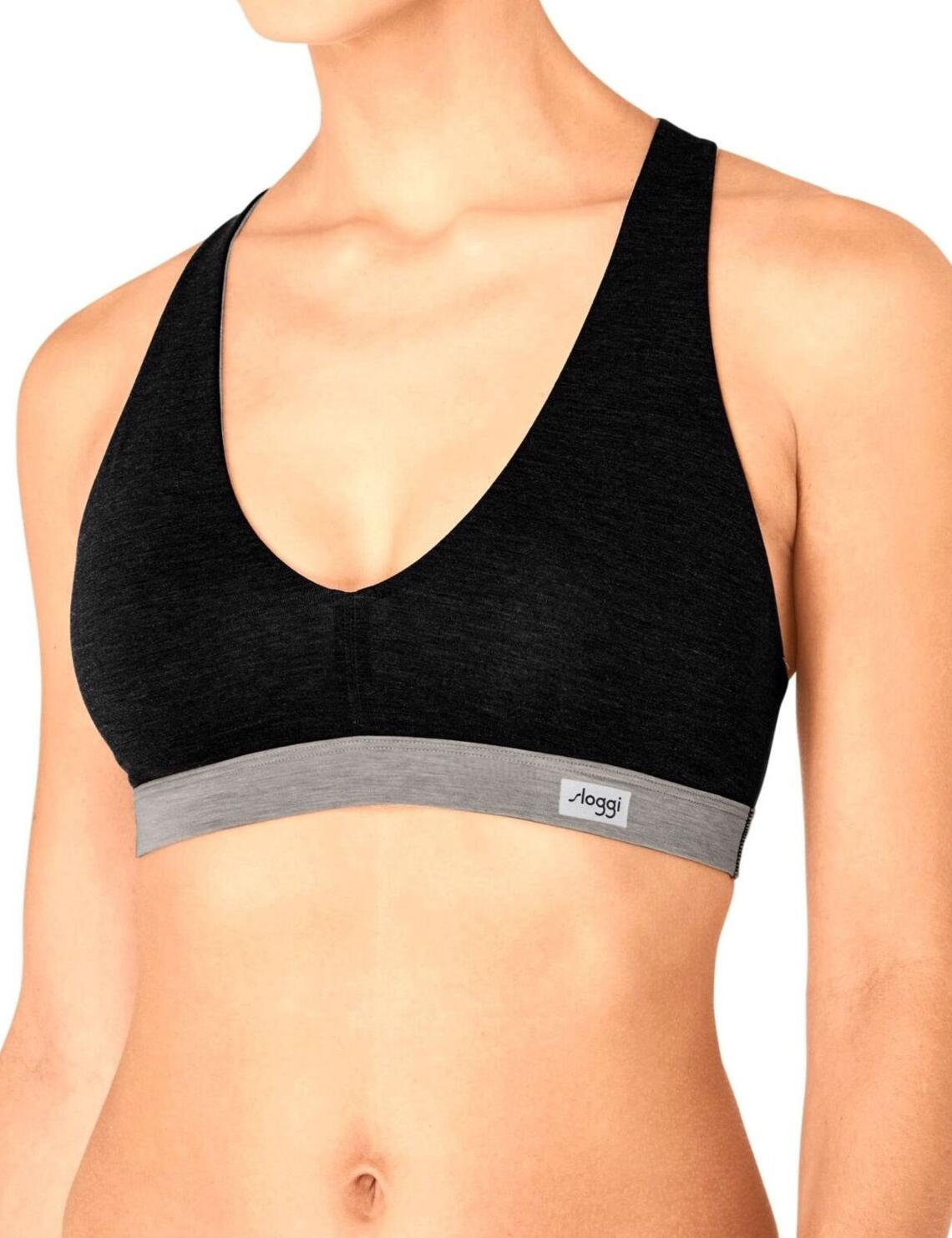 10190366 Sloggi Women Move Flow Bralette Crop Bra Top  - 10190366 Black