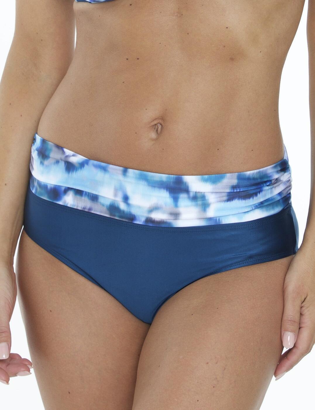 05-1350 SeaSpray Casablanca Fold Waist Bikini Brief - 05-1350 Blue Grey