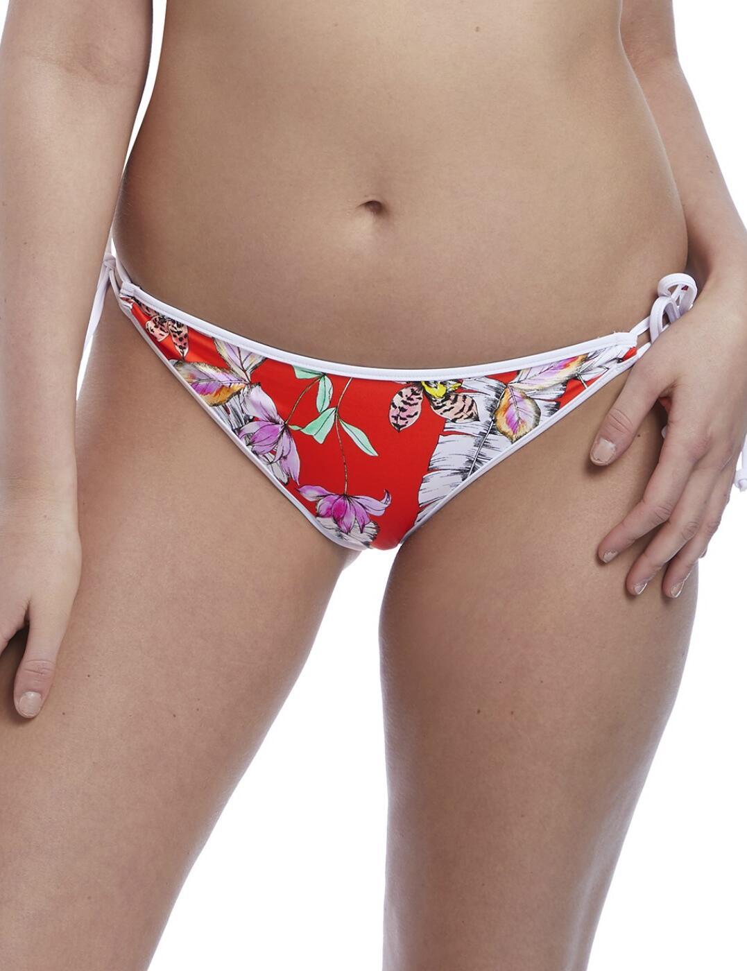 5885 Freya Swim Wild Flower Italini Tie Side Bikini Bottoms - 5885 Flame