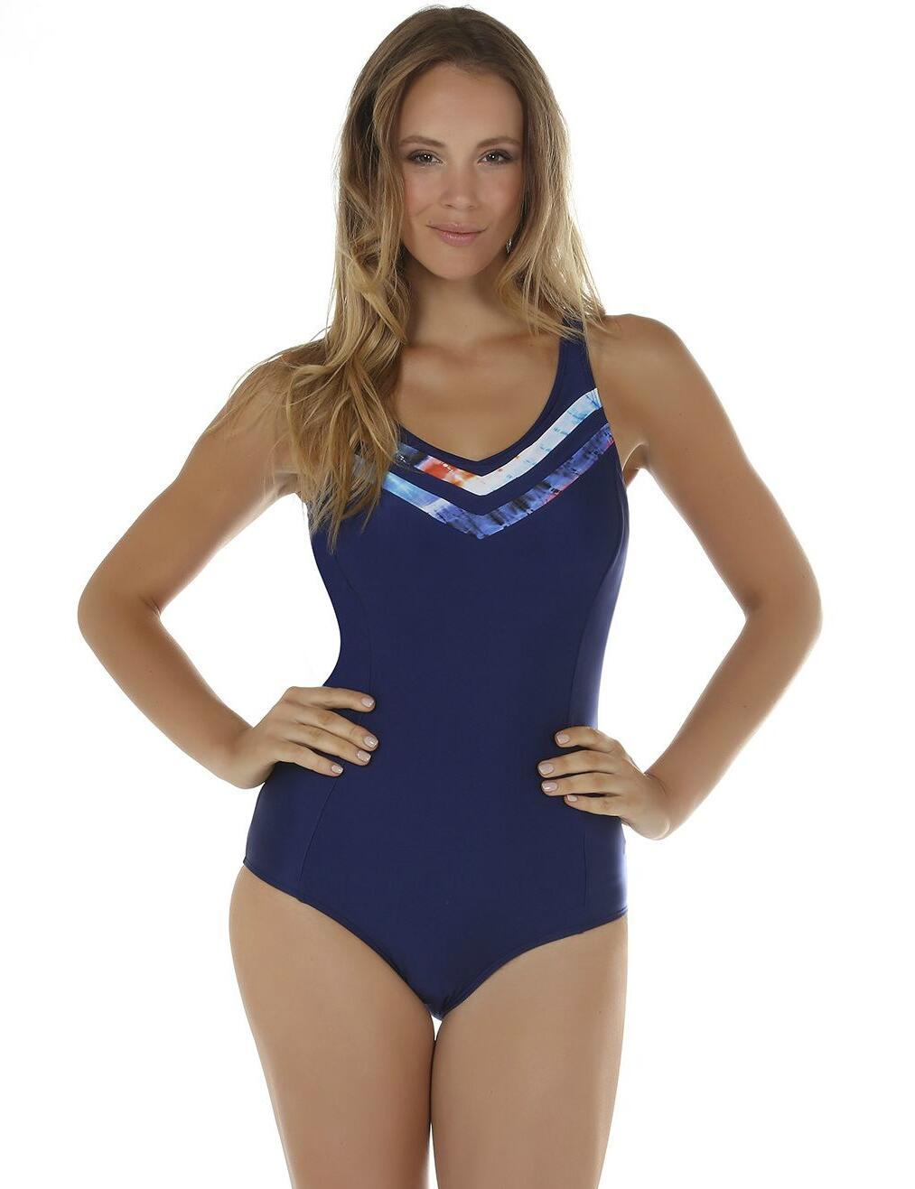 08-2100 Seaspray Crete Panelled Swimsuit - 08-2100 Blue/Orange