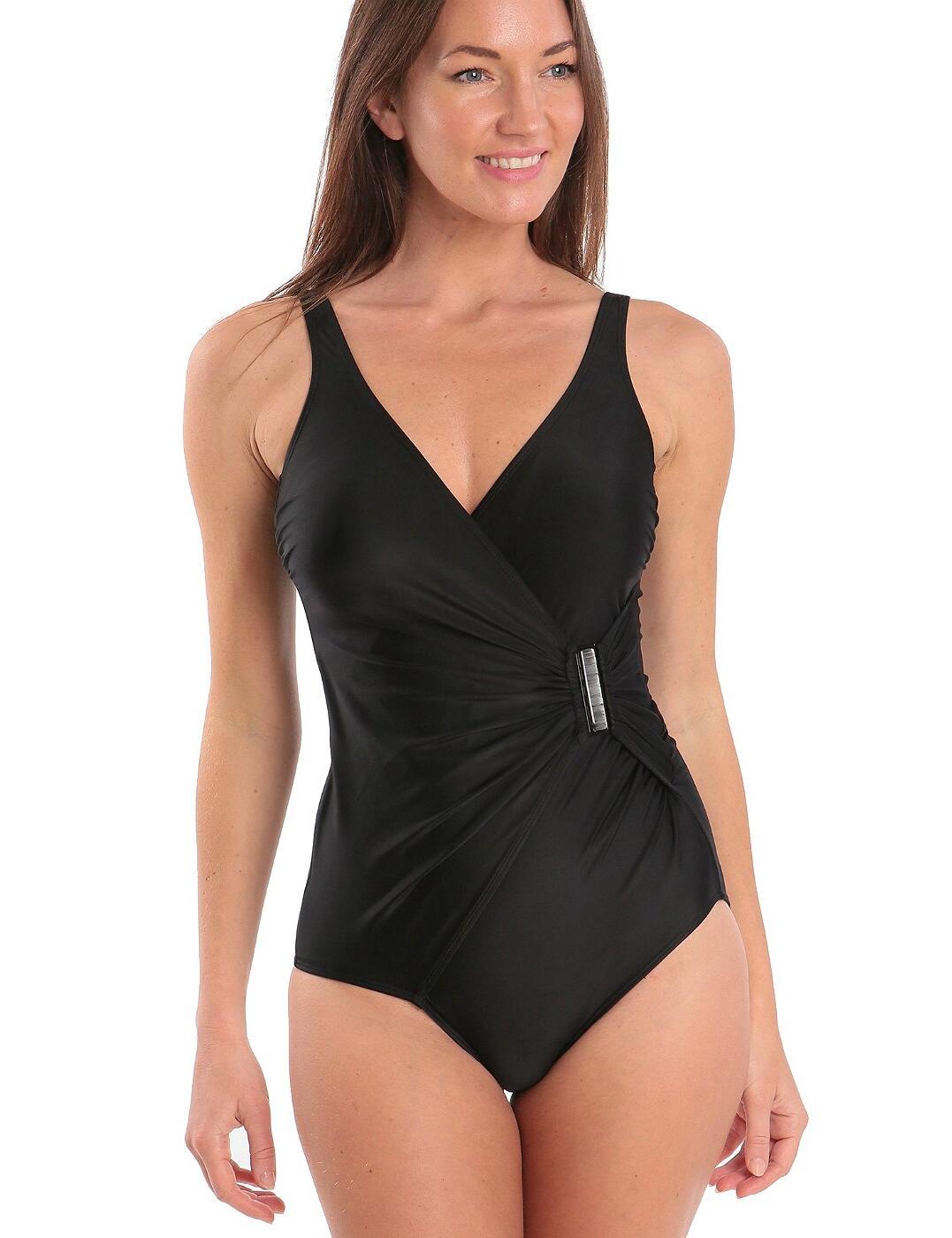12-2112A Seaspray Manhattan Side Buckles Swimsuit - 12-2112A Black