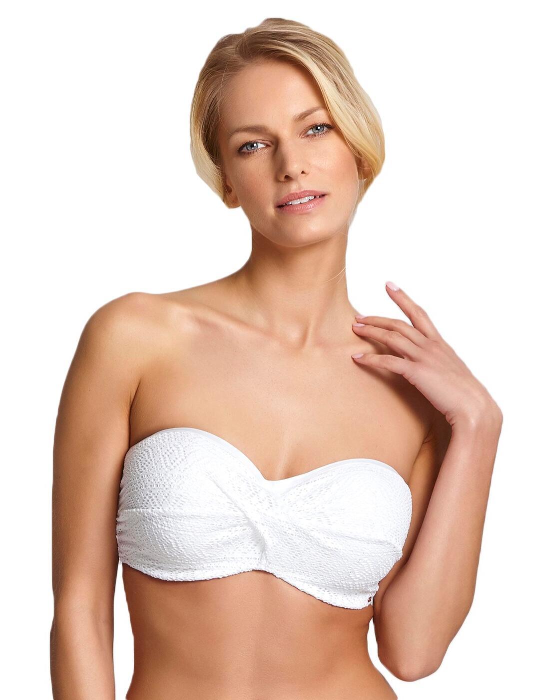 SW1253 Panache Anya Crochet Padded Bandeau Bikini Top - SW1253 White