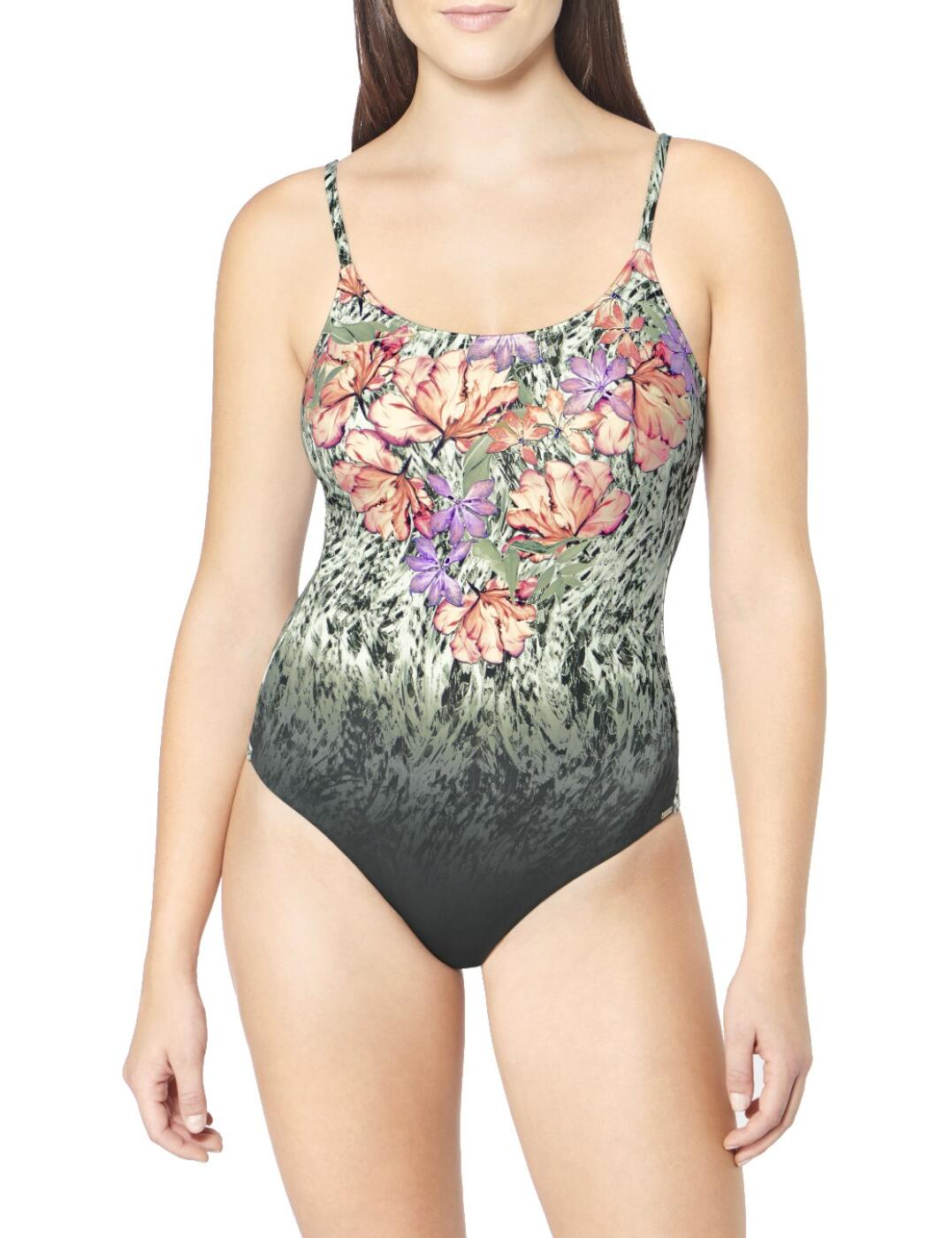 10195586 Triumph Floral Cascades Padded Swimsuit - 10195586 Green/Dark Combination