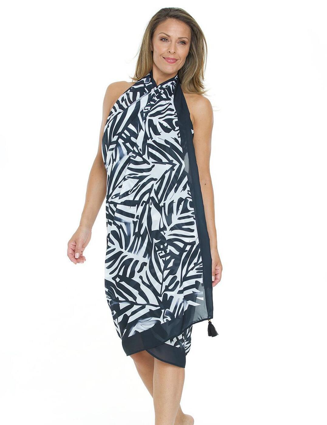 Seaspray Palm Noir Black /& White Print Tassel Pareo