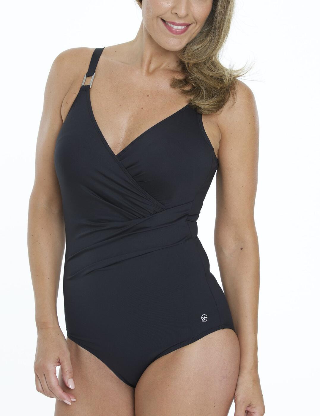 33-2184 SeaSpray Just Colour Plain Draped Swimsuit - 33-2184 Black