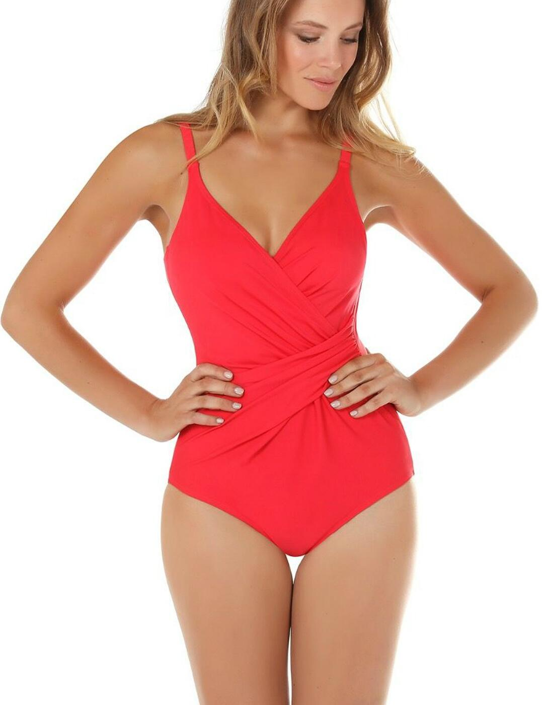 33-2184 SeaSpray Just Colour Plain Draped Swimsuit - 33-2184 Coral