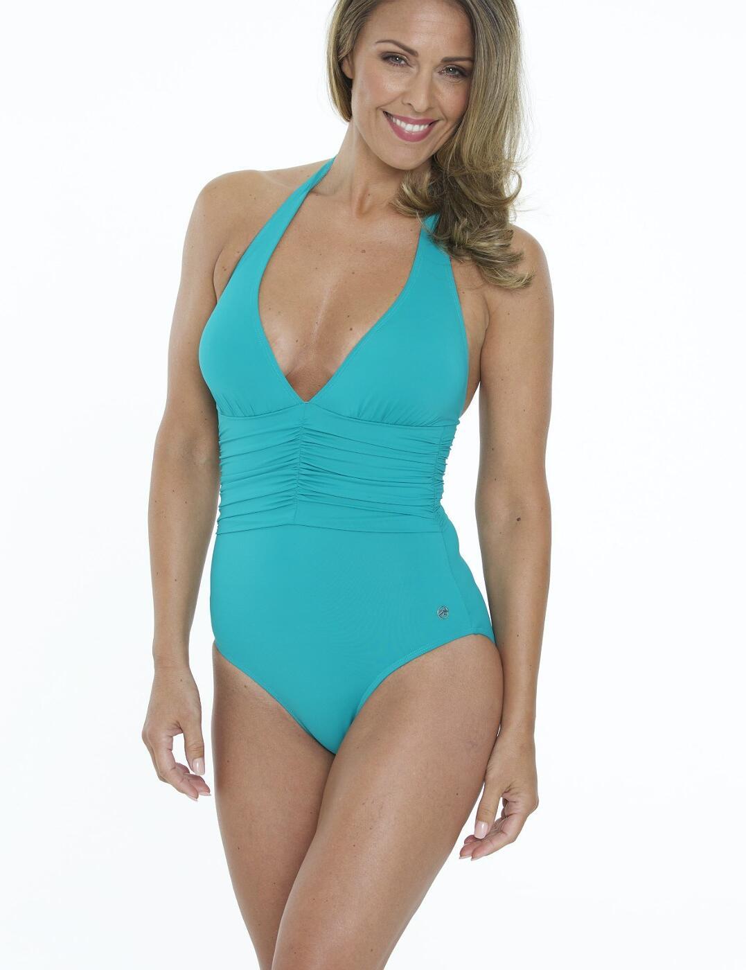 33-2857 SeaSpray Just Colour Plain Plunge Swimsuit - 33-2857 Jade