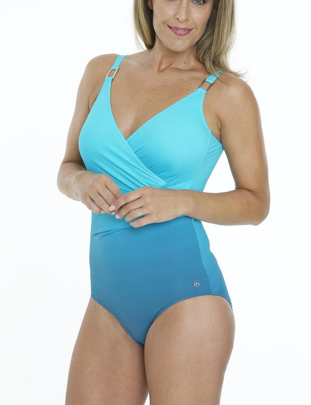 34-2184 SeaSpray Classic Draped Strapsuit Ombre Swimsuit - 34-2184 Lagoon