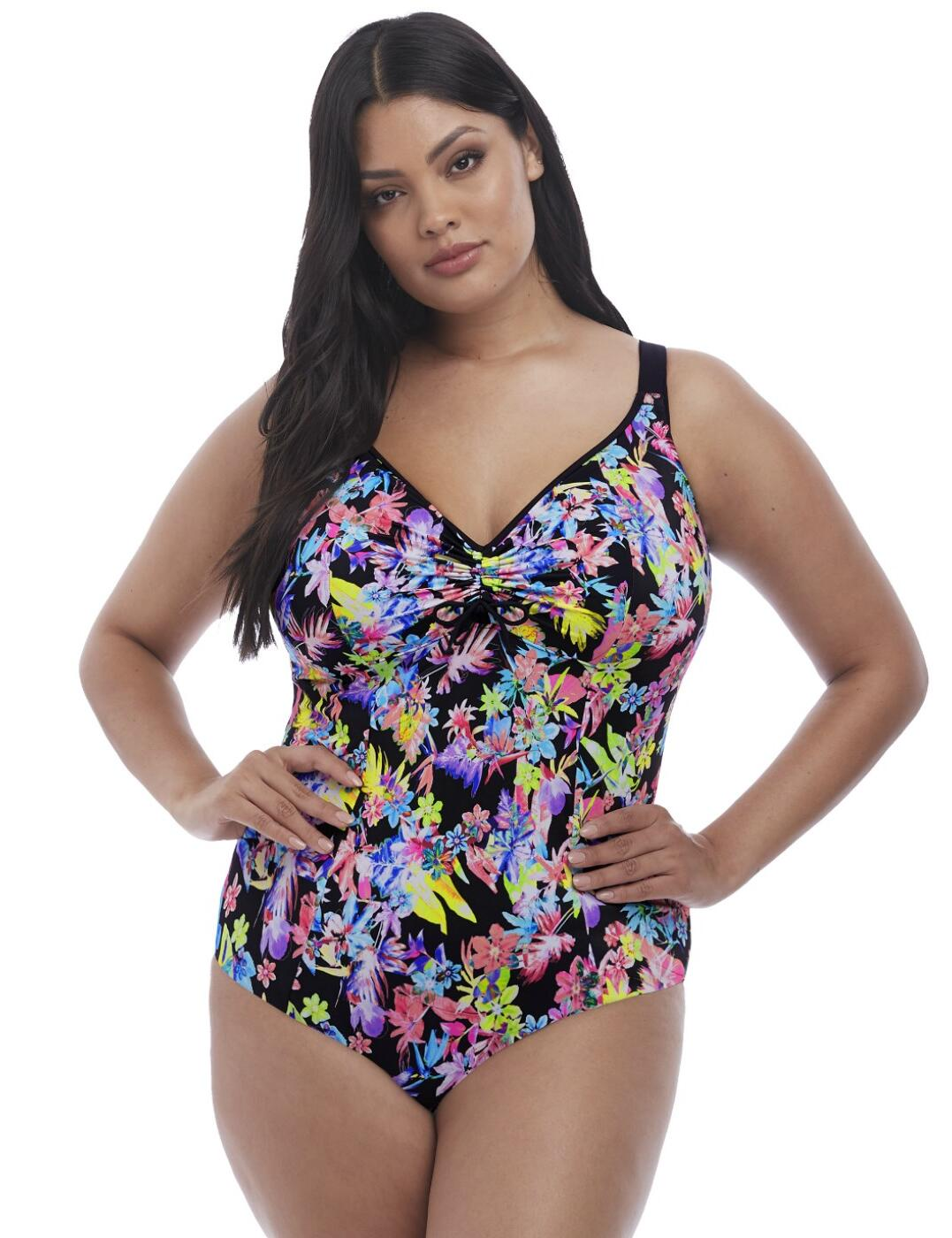 7170 Elomi Electroflower Moulded Adjustable Swimsuit - 7170 Black