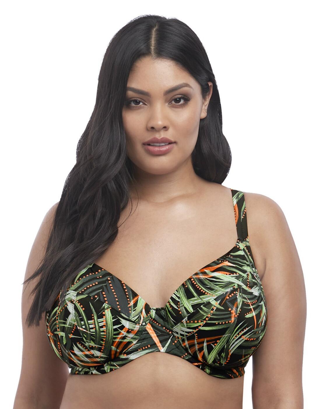 7162 Elomi Amazonia Underwired Plunge Bikini Top - 7162 Khaki Print