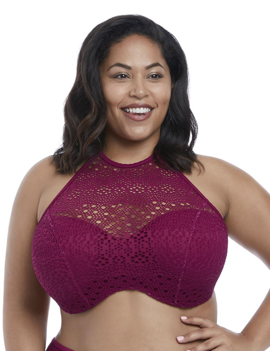7537 Elomi Indie Underwired Bandeau High Neck Bikini Top - 7537 Berry