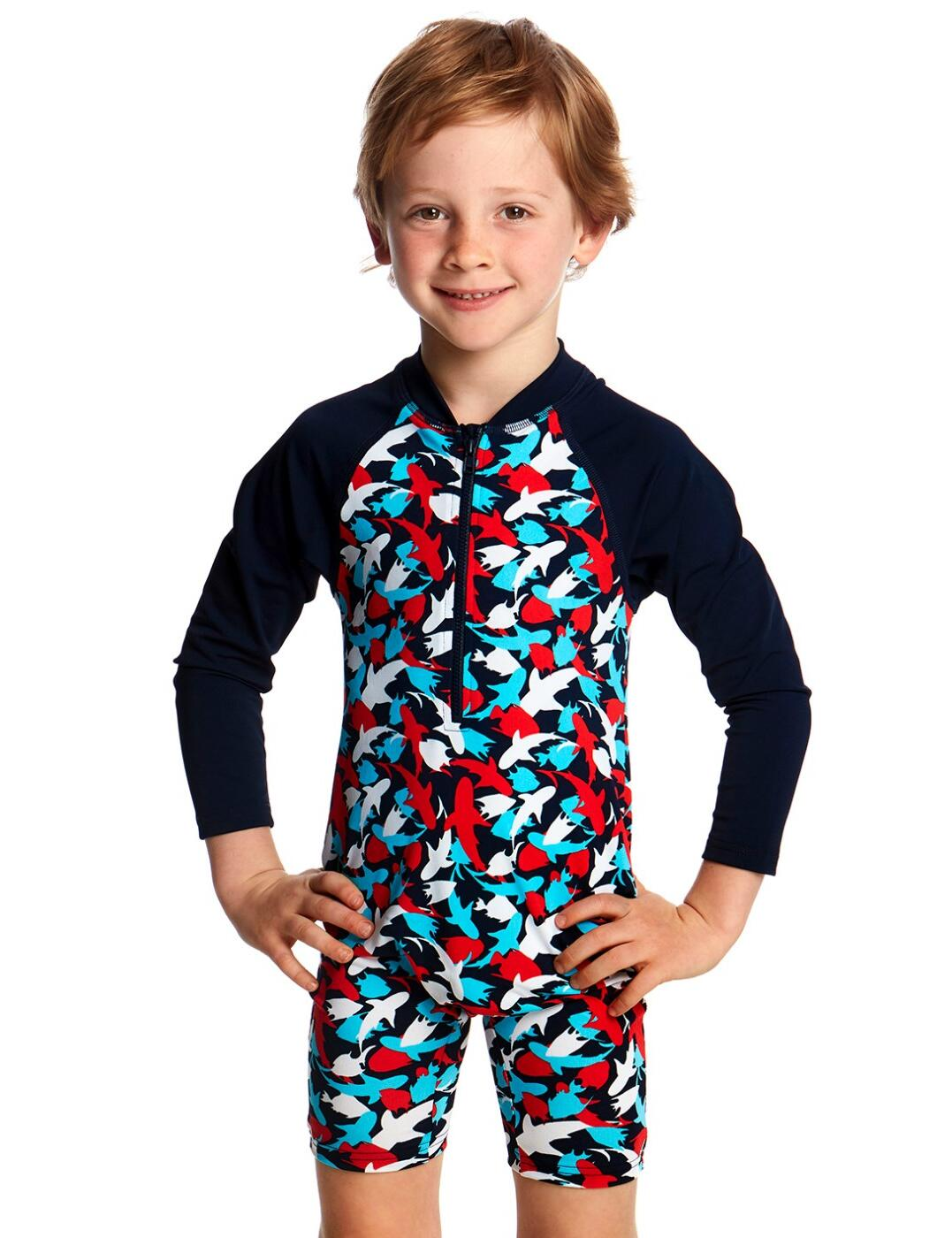 FTS00T Funky Trunks Toddler Boys Go Swim Jump Suit - FTS00T01795 Feeding Frenzy