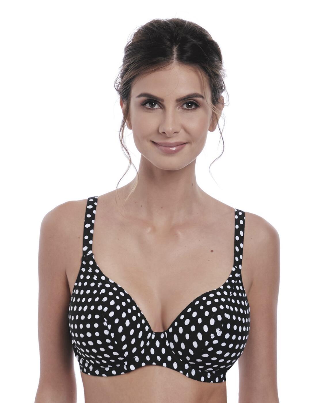 6722 Fantasie Santa Monica Underwired Plunge Bikini Top - 6722 Black/White
