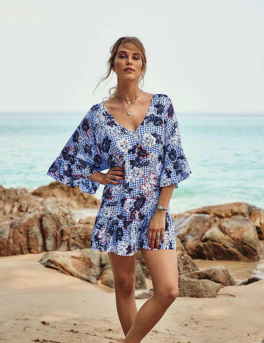 8149 Rosa Faia By Anita Akalani Beach Dress Kaftan - 8149 Blue