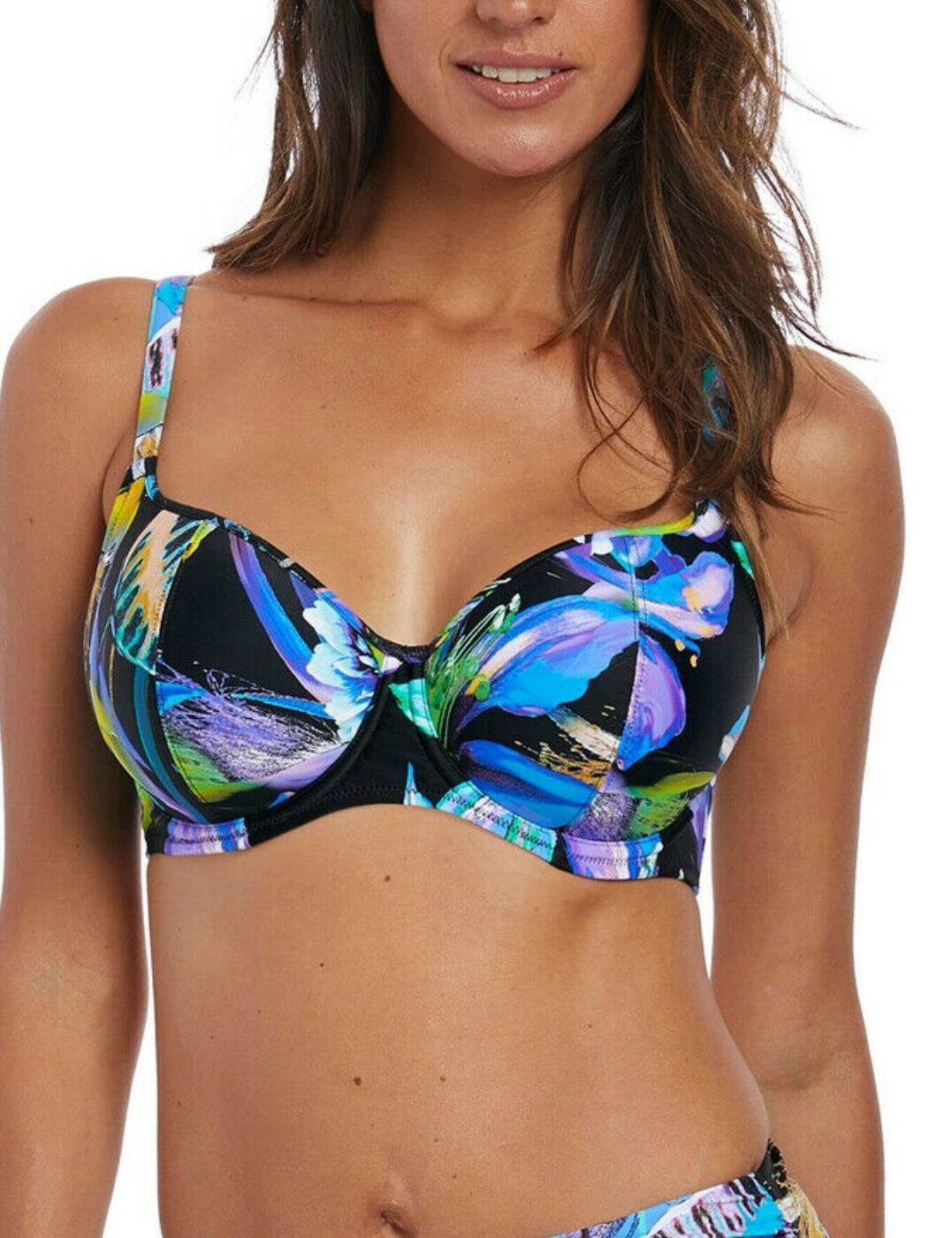 6475 Fantasie Paradise Bay Lightly Padded Bikini Top - 6475 Aqua Multi