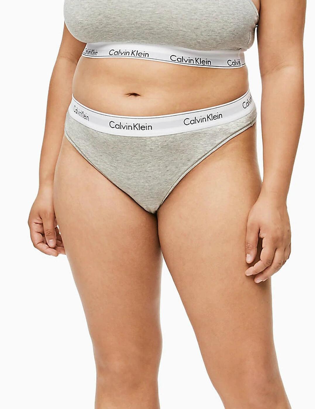 QF5117E Calvin Klein Modern Cotton Plus Thong Brief - QF5117E Grey Heather