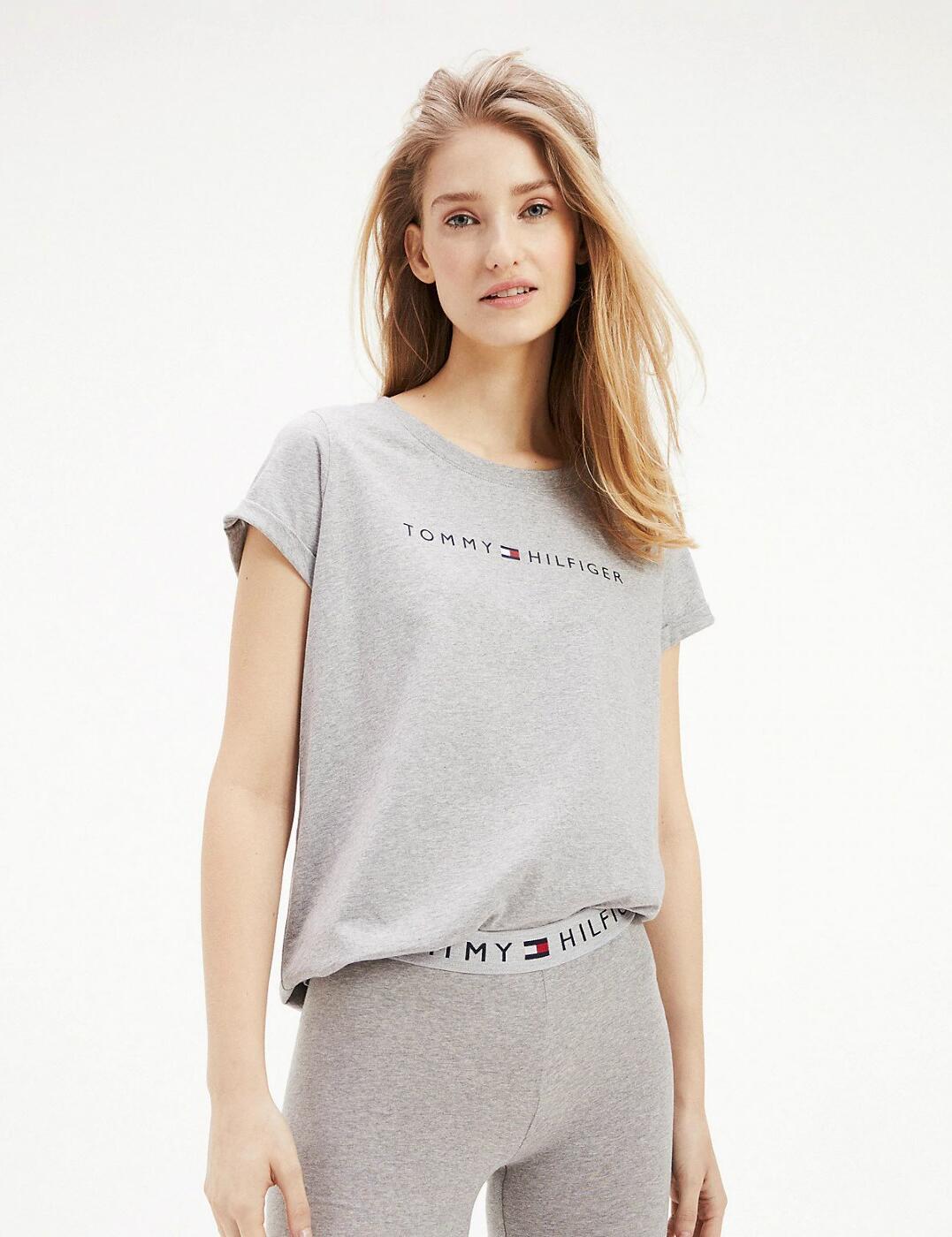 UW0UW01618 Tommy Hilfiger Logo Cotton T-Shirt - UW0UW01618 Grey