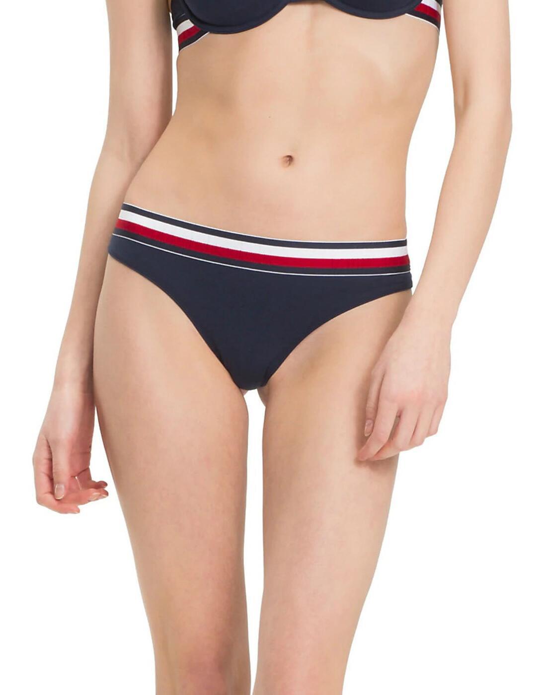 UW0UW00513 Tommy Hilfiger Cotton Stripe Thong - UW0UW00513 Navy Blazer