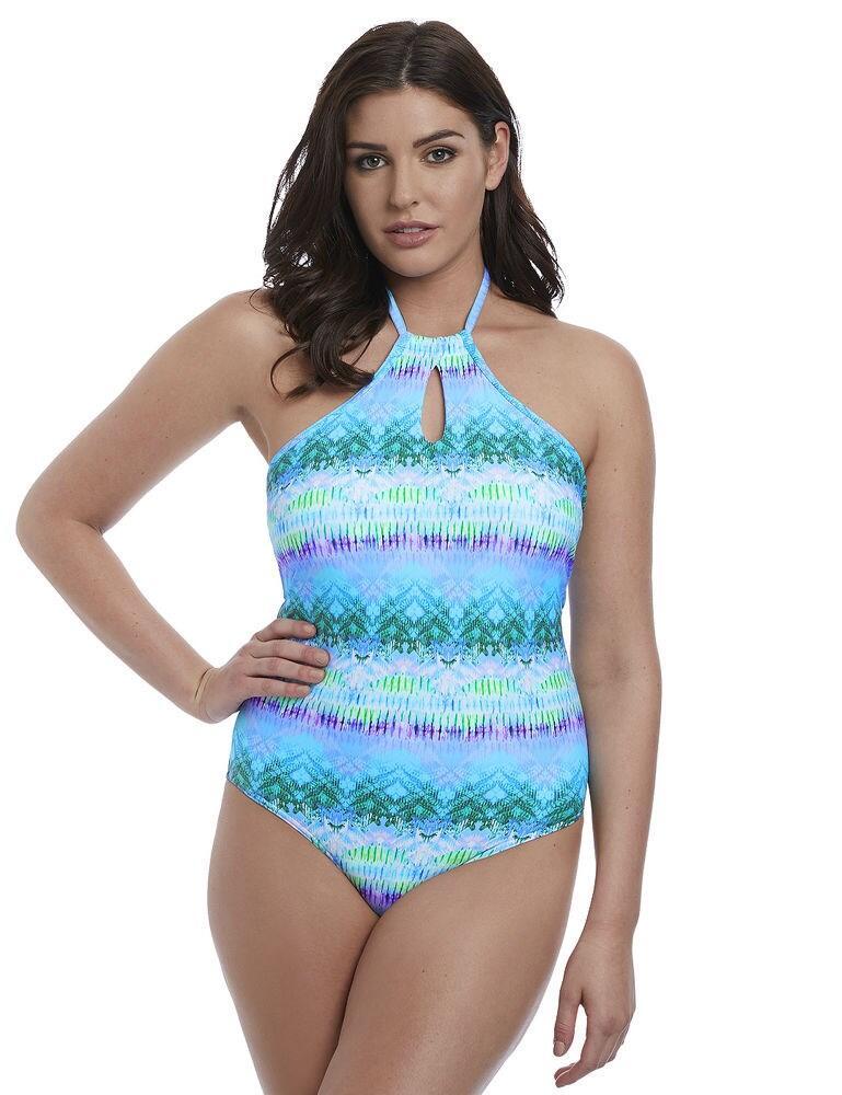 5874 Freya Seascape High Neck Swimsuit - 5874 Blue Lagoon