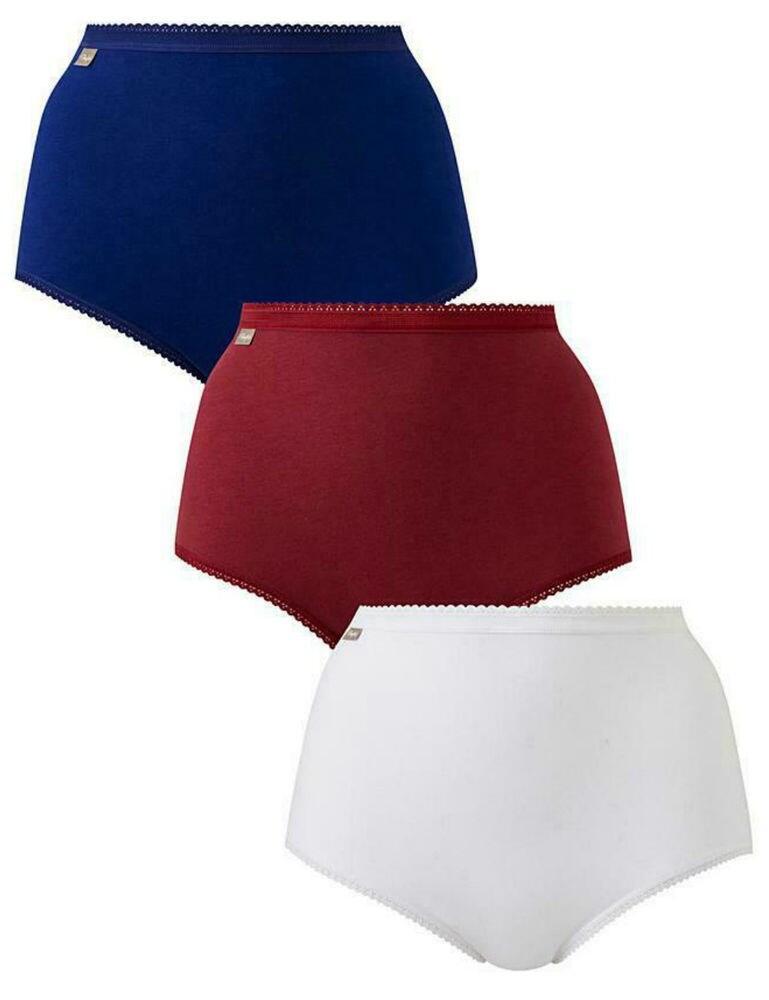 P00BQ Playtex Cherish Pure Cotton Maxi Briefs (3 Pack) - P00BQ Dark Berry/Intense Blue/White