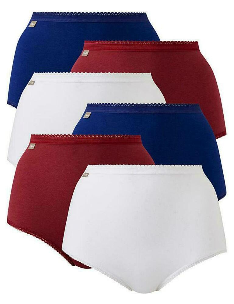 P00BQ6 Playtex Pure Cotton Maxi Stretch Brief 6 Pack - P00BQ/6 Dark Berry/Intense Blue/White