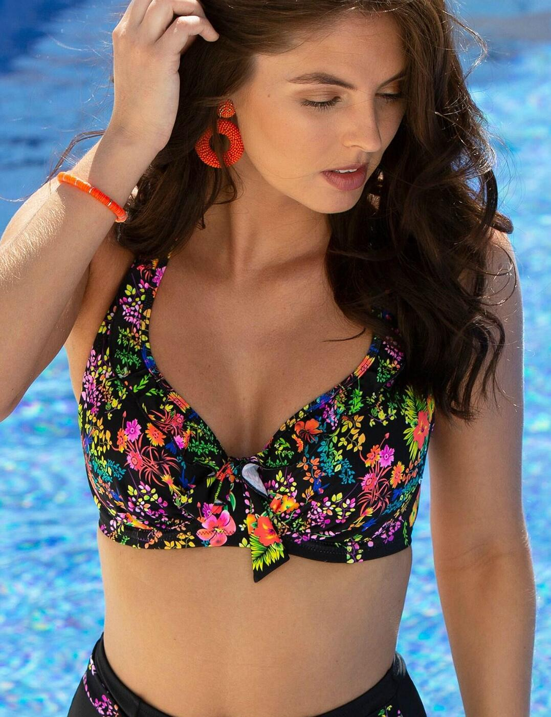 3902 Pour Moi Hot Spots Halterneck Underwired Bikini Top - 3902 Black Floral