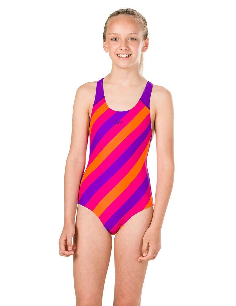 807386C769 Speedo Girls Candyflash Allover Splashback Swimsuit - 807386C769 Purple/Pink