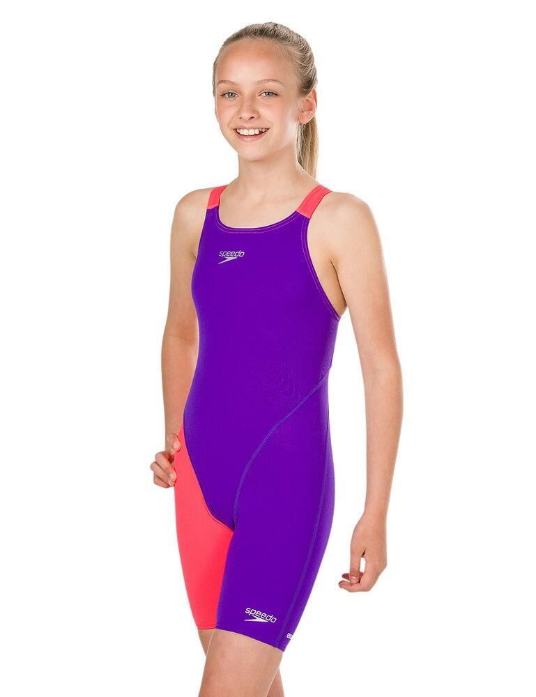 809732C876 Speedo Childrens Fastskin Endurance + Openback Kneeskin - 809732C876 Purple/Red