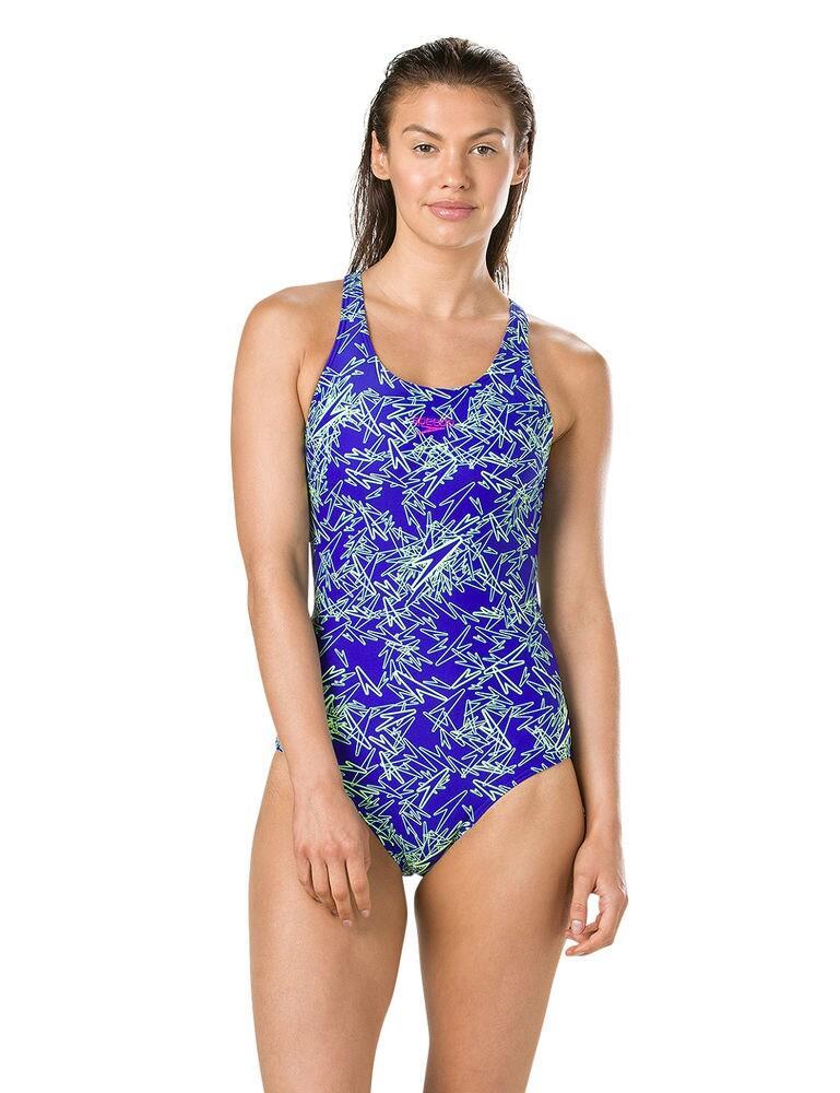 810818C752 Speedo Boom Allover Muscleback Swimsuit - 810818C752 Blue/Green