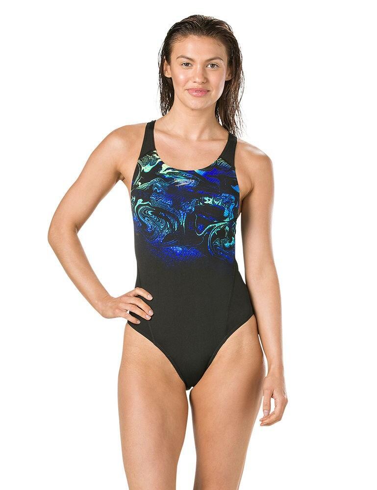 809015C895 Speedo SwirlyAqua Placement Recordbreaker Swimsuit - 809015C895 Black/Blue