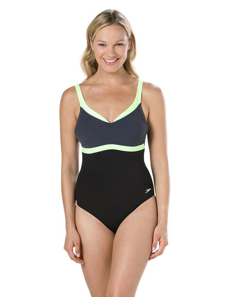 810414C738 Speedo Aquajewel Swimsuit - 810414C738 Black/Grey
