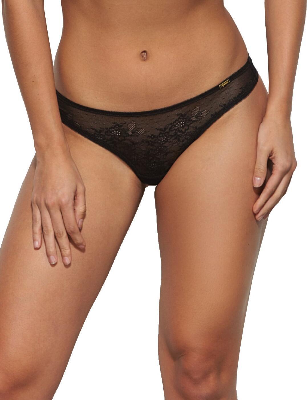 13006 Gossard Glossies Lace Thong - 13006 Black