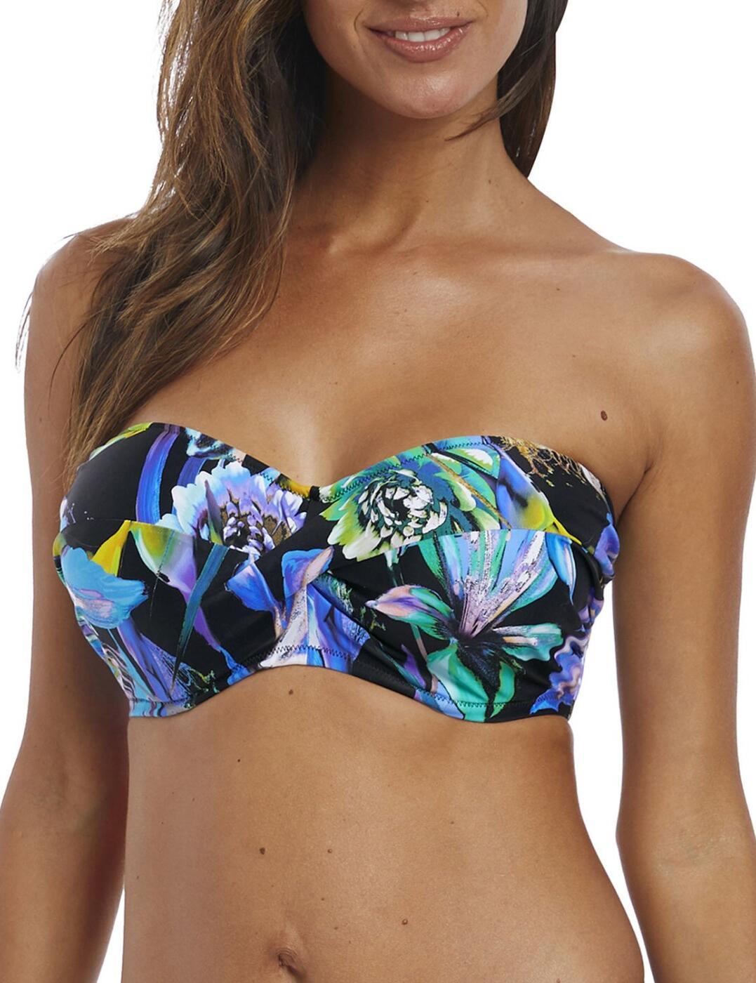 6476 Fantasie Paradise Bay Twist Bandeau Bikini Top - 6476 Aqua Multi