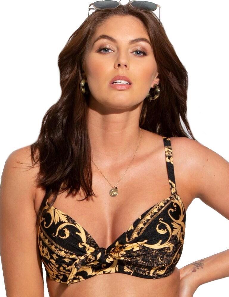 17500 Pour Moi Paradiso Front Tie Bikini Top - 17500 Black/Gold