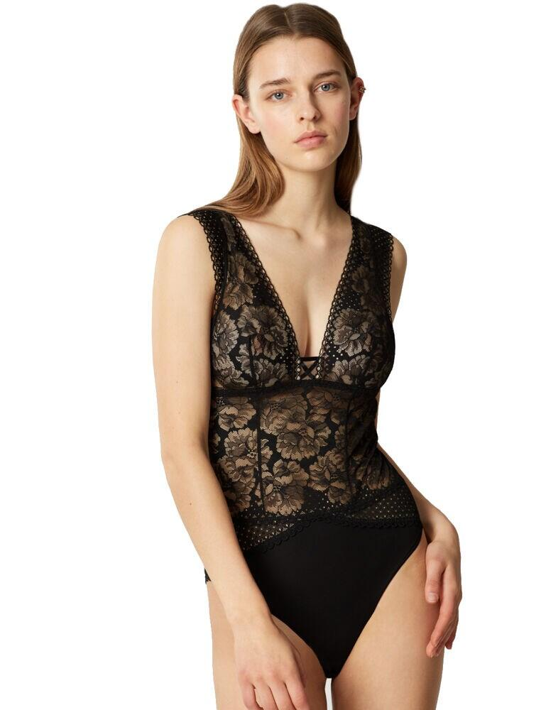 18653 Maison Lejaby Dot Flowers Body - 18653 Noir
