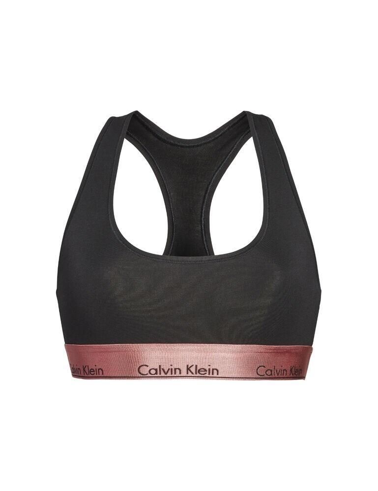 000QF5579E Calvin Klein Unlined Bralette Bra - 000QF5579E Black Rose Gold