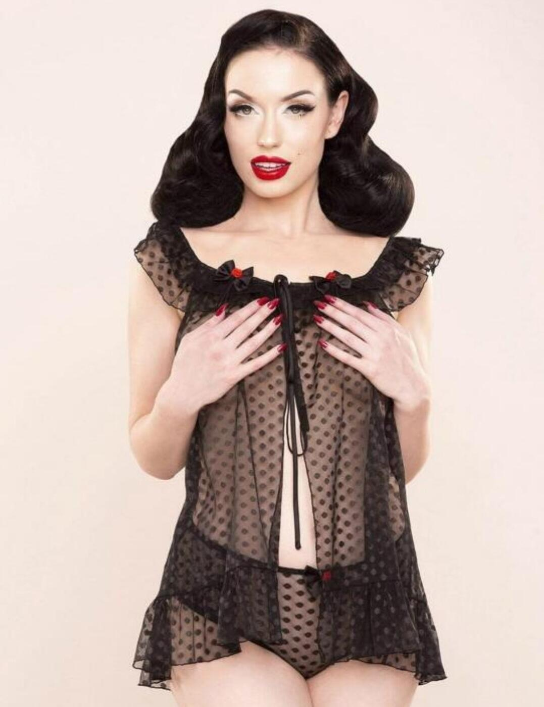 BP037D Playful Promises Bettie Page Dot Babydoll And Brief - BP037D Black