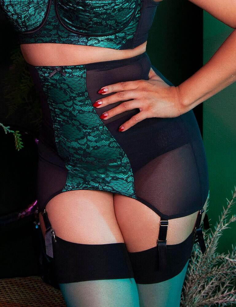 BPSB077 Playful Promises Bettie Page Elsie Lace Girdle - BPSB077 Emerald Green