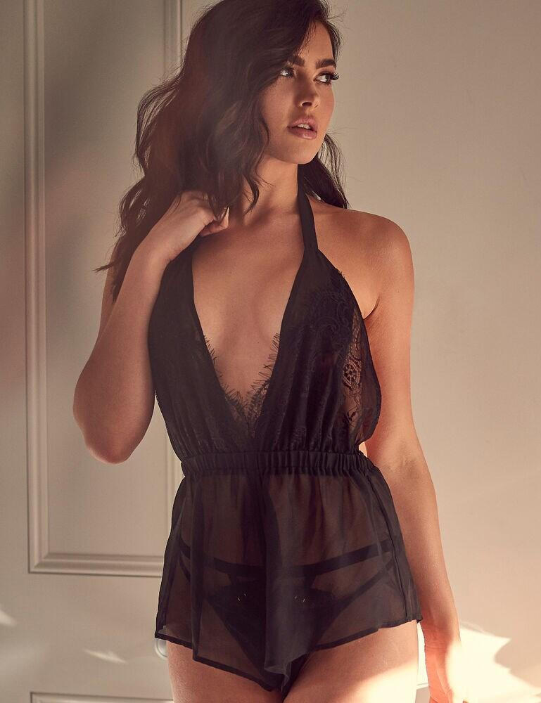 WWL793 Wolf & Whistle Suzie Lace Trim Halter Playsuit - WWL793 Black