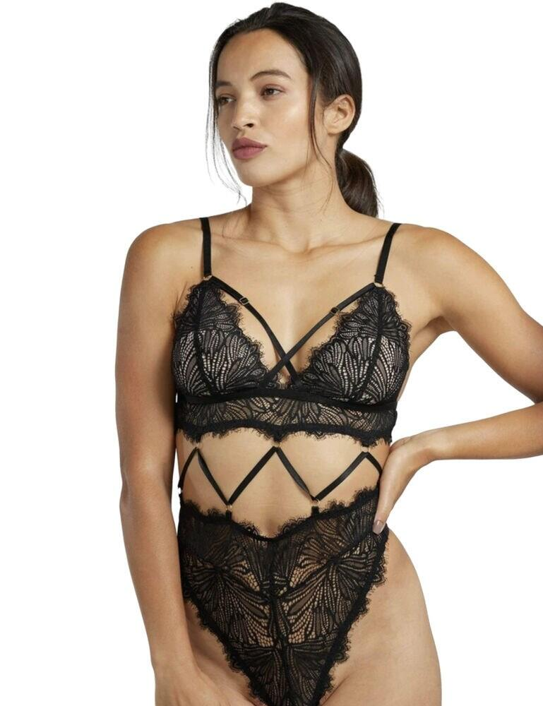 WWL786 Wolf and Whistle Angelica Strappy Lace Body - WWL786 Black