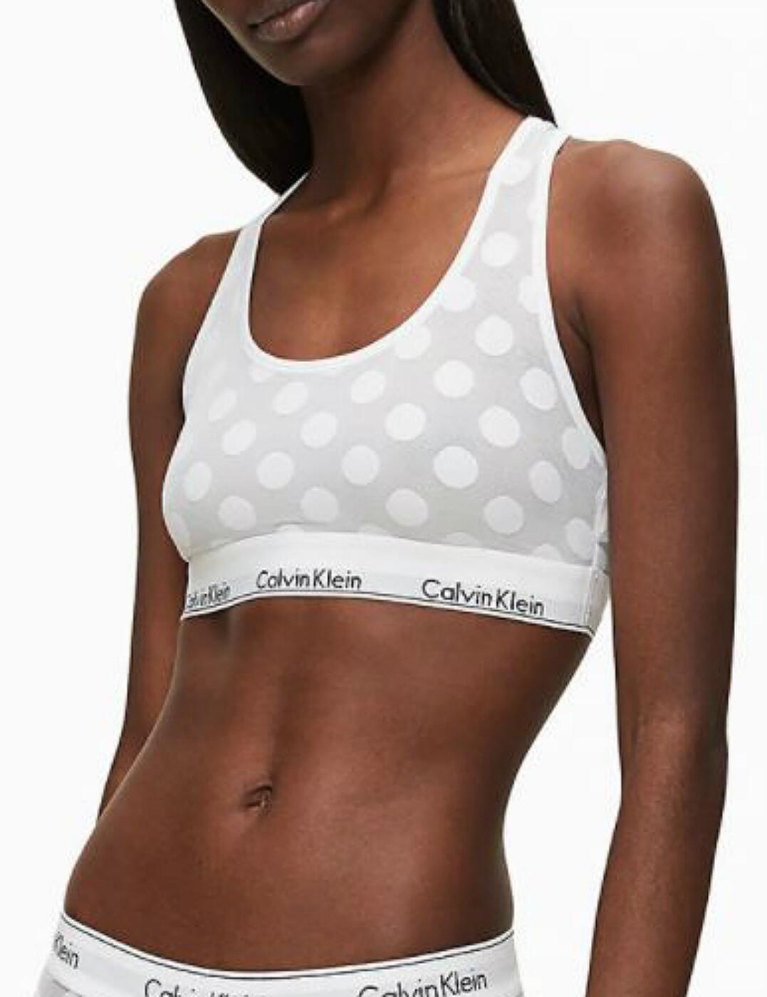 000QF5847E Calvin Klein Unlined Bralette Bra Top - 000QF5847E White