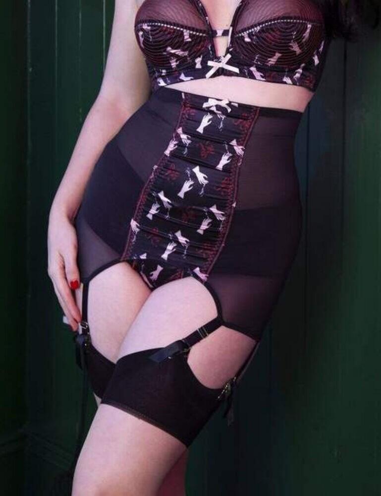 BPSB078 Playful Promises Bettie Page Blaze Girdle Suspender - BPSB078 Black