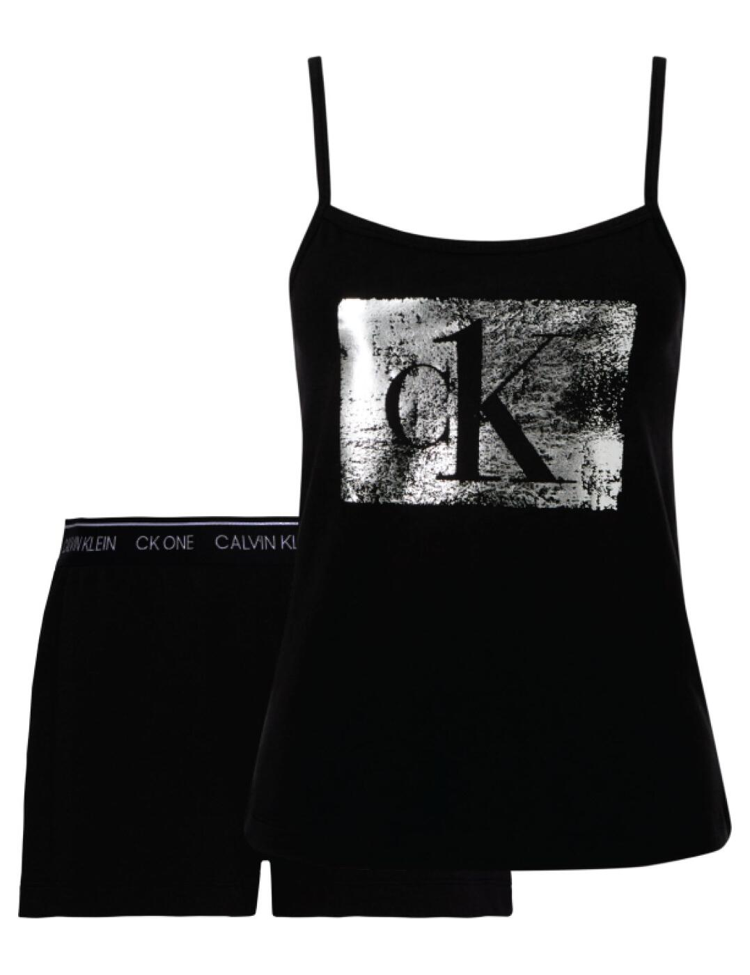 000QS6603E Calvin Klein Shorts Pyjama Set  - QS6603E Black/Silver Foil
