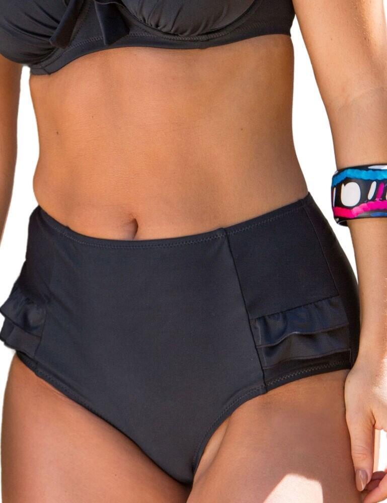 Pour Moi Splash High Waisted Control Bikini Brief in Black