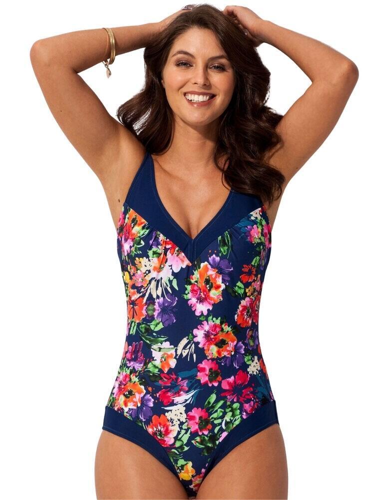 Pour Moi Flowers Contour Control Swimsuit Navy
