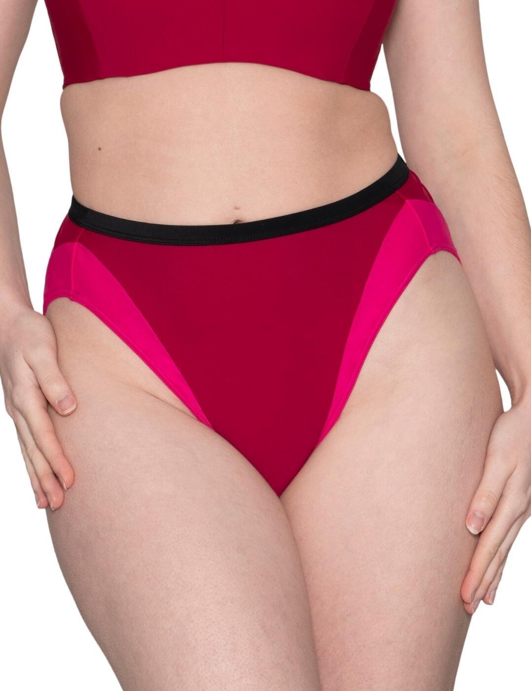Curvy Kate Subtropic High Waist Brief in Cherry Red/Pink